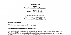 Official Order Texas Commissioner of Insurance